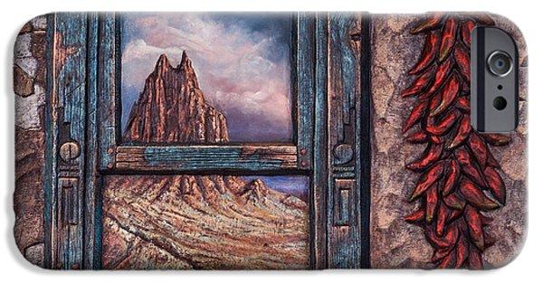 Folk Art Mixed Media iPhone Cases - New Mexico Window iPhone Case by Ricardo Chavez-Mendez