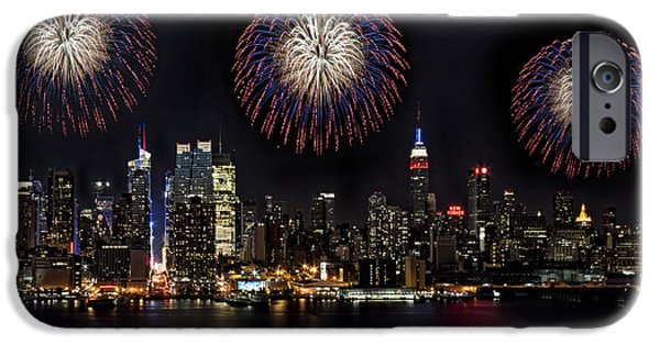 Empire State Building iPhone Cases - New York City Celebrates the 4th iPhone Case by Susan Candelario
