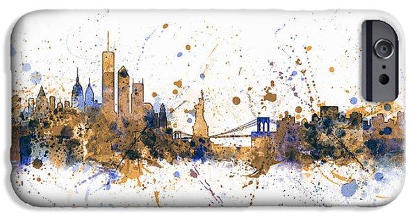 Paint Digital iPhone Cases - New York Skyline iPhone Case by Michael Tompsett