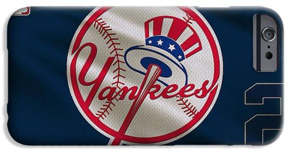 Derek iPhone Cases - New York Yankees Derek Jeter iPhone Case by Joe Hamilton