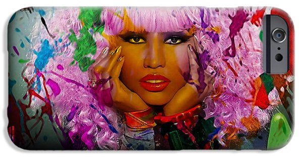 Young iPhone Cases - Nicki Minaj Painting iPhone Case by Marvin Blaine