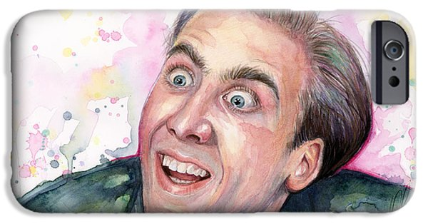 Olga Shvartsur iPhone Cases - Nicolas Cage A Vampires Kiss Watercolor Art iPhone Case by Olga Shvartsur