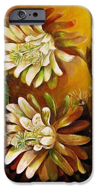 Plant Paintings iPhone Cases - Night blooming cereus iPhone Case by Zina Stromberg