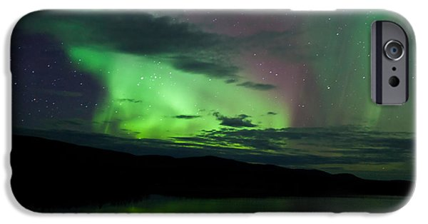 Willow Lake iPhone Cases - Night Sky Stars Clouds Northern Lights mirrored iPhone Case by Stephan Pietzko