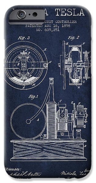 Circuit iPhone Cases - Nikola Tesla Electric Circuit Controller Patent Drawing From 189 iPhone Case by Aged Pixel
