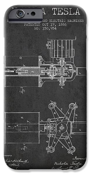 Recently Sold -  - Technical iPhone Cases - Nikola Tesla Patent Drawing From 1886 - Dark iPhone Case by Aged Pixel