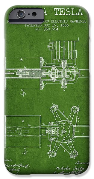 Dynamos iPhone Cases - Nikola Tesla Patent Drawing From 1886 - Green iPhone Case by Aged Pixel