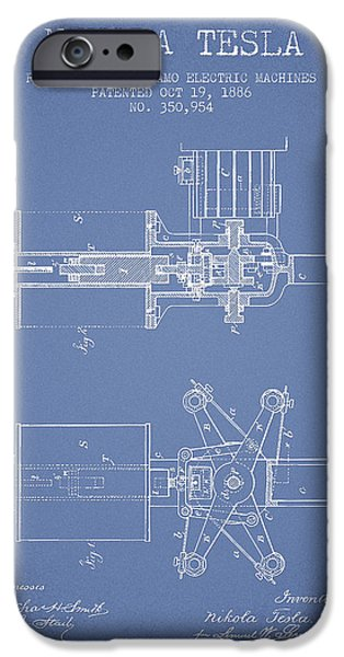 Dynamos iPhone Cases - Nikola Tesla Patent Drawing From 1886 - Light Blue iPhone Case by Aged Pixel