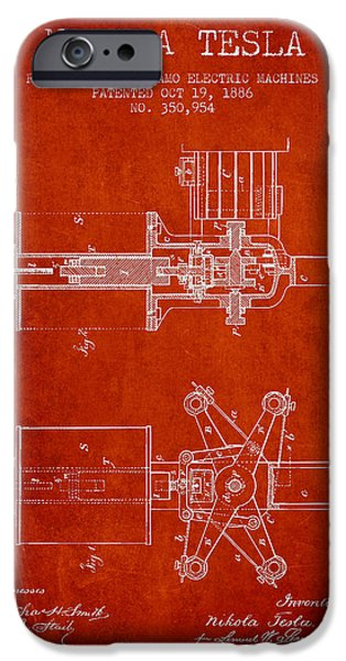 Dynamos iPhone Cases - Nikola Tesla Patent Drawing From 1886 - Red iPhone Case by Aged Pixel