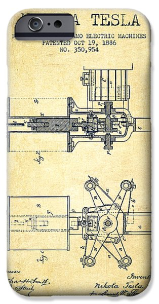 Dynamos iPhone Cases - Nikola Tesla Patent Drawing From 1886 - Vintage iPhone Case by Aged Pixel