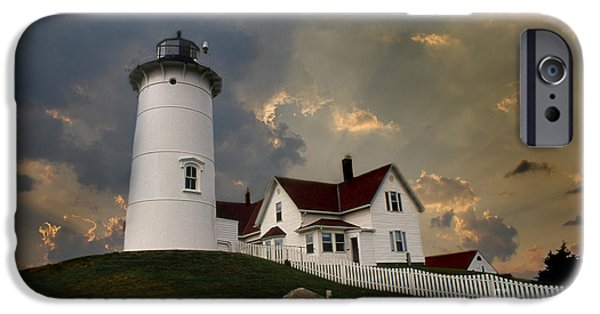 Lighthouse Art iPhone Cases - Nobska Lighthouse iPhone Case by Skip Willits