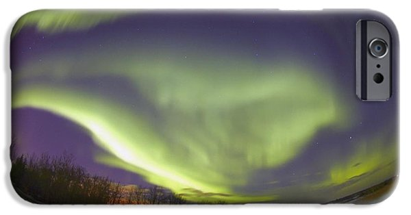 Nature Abstracts iPhone Cases - Northern Lights, Edmonton, Alberta iPhone Case by Carson Ganci
