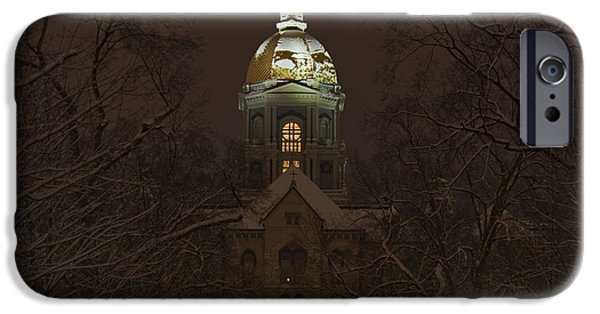 Universities Photographs iPhone Cases - Notre Dame Golden Dome Snow iPhone Case by John Stephens