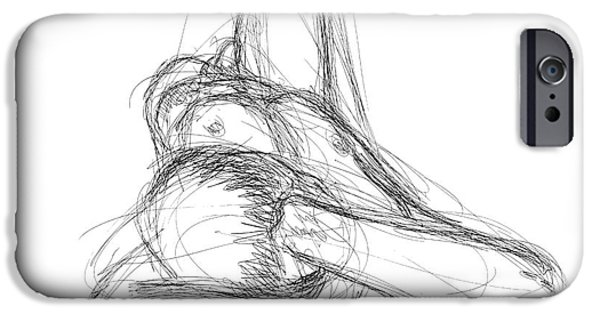 Male Nude Drawing Drawings iPhone Cases - Nude Male Sketches 2 iPhone Case by Gordon Punt
