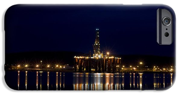 North Sea iPhone Cases - Oil Drilling Rig At Night, North Sea iPhone Case by Duncan Shaw