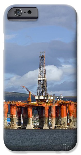 North Sea iPhone Cases - Oil Drilling Rig, North Sea iPhone Case by Duncan Shaw