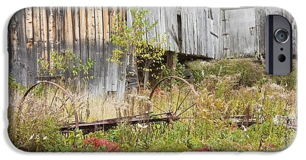 Maine Barns iPhone Cases - Old Barn in Fall Maine iPhone Case by Keith Webber Jr