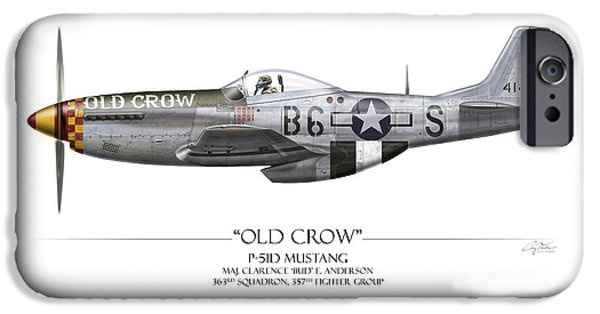 P-51 iPhone Cases - Old Crow P-51 Mustang - White Background iPhone Case by Craig Tinder