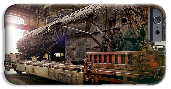 Industrial Pyrography iPhone Cases - Old industrial locomotive in the garage iPhone Case by Oliver Sved
