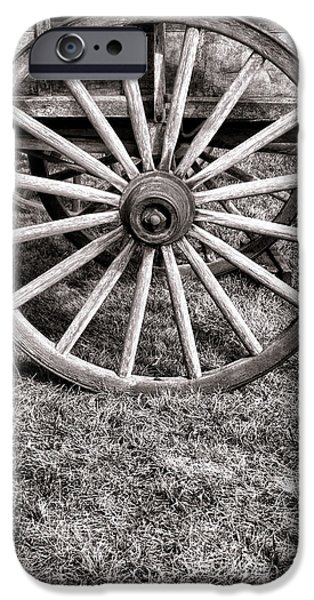 Historic Schooner iPhone Cases - Old Wagon Wheel on Cart iPhone Case by Olivier Le Queinec