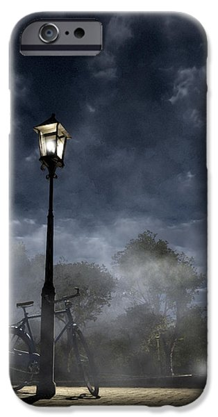 Night Lamp iPhone Cases - Ominous Avenue iPhone Case by Cynthia Decker