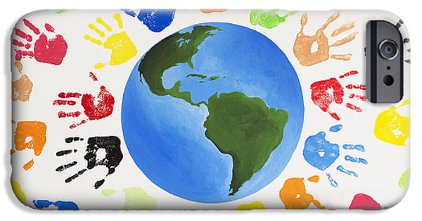 Tim Paintings iPhone Cases - One World iPhone Case by Tim Gainey