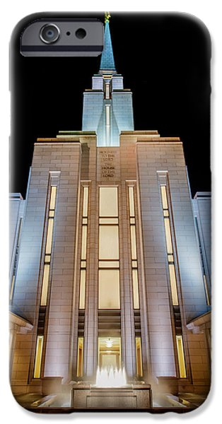 Fog iPhone Cases - Oquirrh Mountain Temple 1 iPhone Case by Chad Dutson