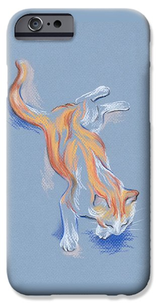 White House Pastels iPhone Cases - Orange and White Tabby Cat iPhone Case by MM Anderson