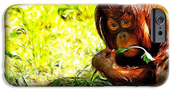 Orangutan Digital Art iPhone Cases - Orangutan iPhone Case by Lars Tuchel