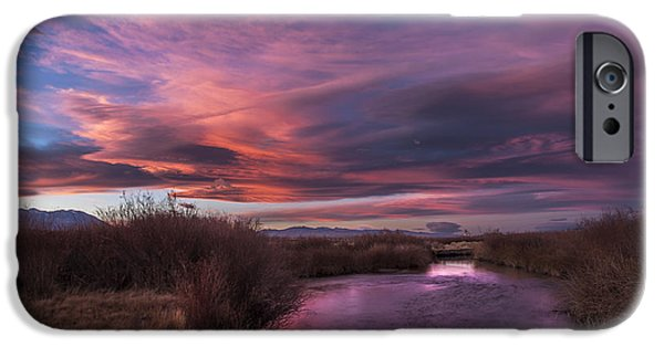 River iPhone Cases - Owens River Sunset iPhone Case by Cat Connor
