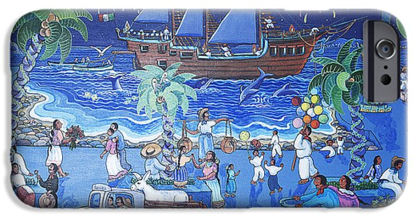 Balloon Vendor iPhone Cases - Painting of Puerto Vallarta in Mexico iPhone Case by Carl Purcell