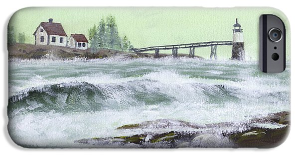Seacoast iPhone Cases - Ram Island Lighthouse During Storm iPhone Case by Keith Webber Jr