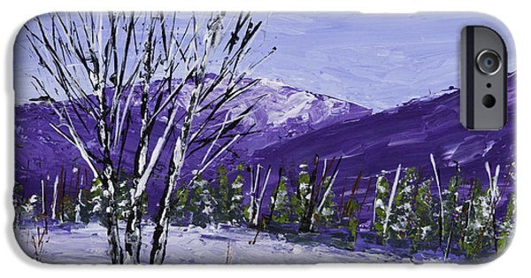 Winter Weather iPhone Cases - Painting of White Birch Trees in Winter iPhone Case by Keith Webber Jr