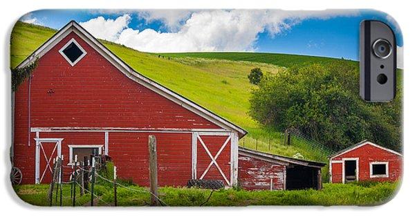 Agricultural iPhone Cases - Palouse Farm Landscape iPhone Case by Inge Johnsson