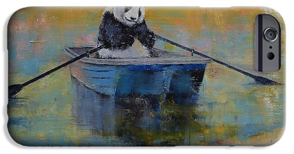 Michael Creese iPhone Cases - Panda Reflections iPhone Case by Michael Creese