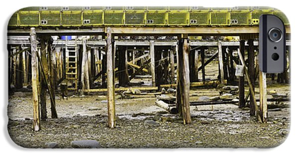 Business iPhone Cases - Panorama Of Pier In New Harbor Maine At Low Tide iPhone Case by Keith Webber Jr