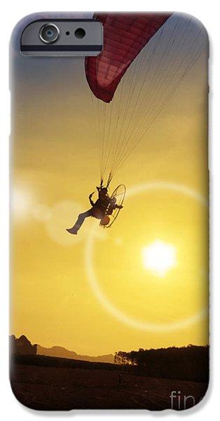 Glider iPhone Cases - paramotor at Krabi province iPhone Case by Atiketta Sangasaeng