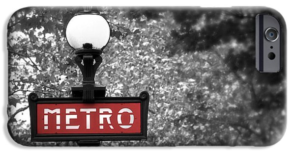 Sign iPhone Cases - Paris metro iPhone Case by Elena Elisseeva