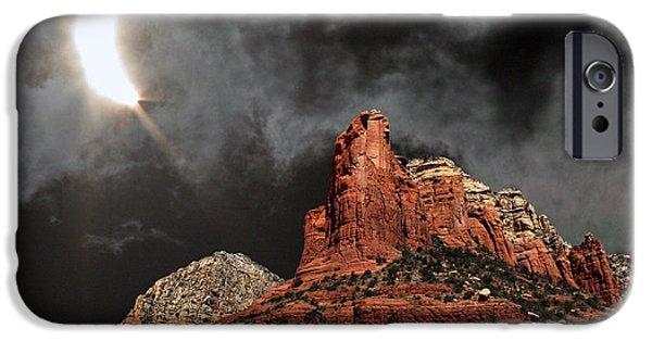 Sedona iPhone Cases - Partial Solar Eclipse, Sedona, Arizona iPhone Case by Babak Tafreshi