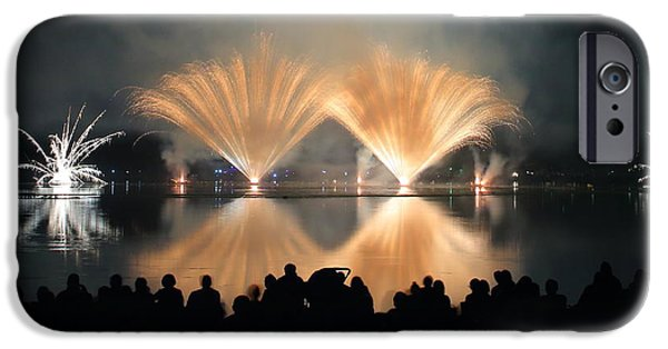 Fourth Of July iPhone Cases - People watch Fireworks Display iPhone Case by Gregory DUBUS