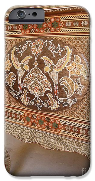 Wooden Sculptures iPhone Cases - Persian Inlaid Wooden Table iPhone Case by Persian Art