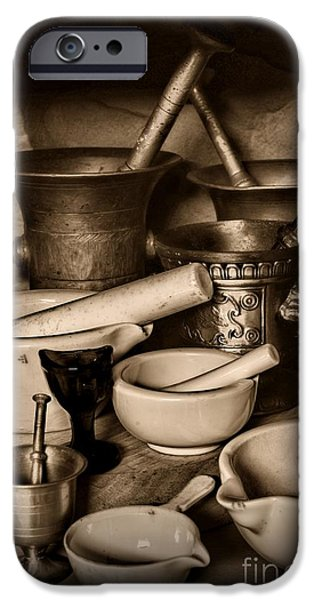 Old Grinders iPhone Cases - Pharmacy - Mortars and Pestles - black and white iPhone Case by Paul Ward