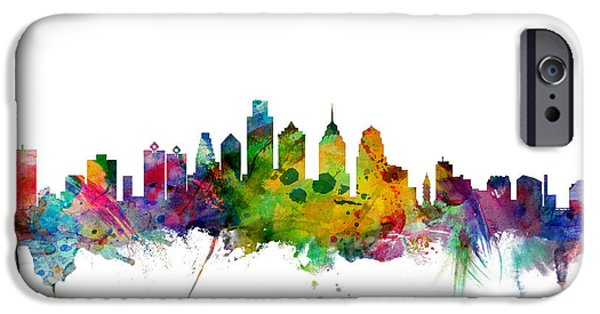 States iPhone Cases - Philadelphia Pennsylvania Skyline iPhone Case by Michael Tompsett