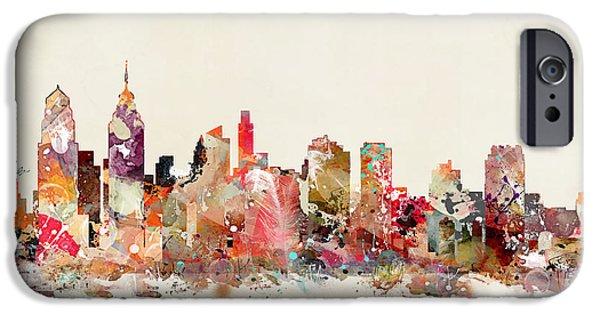 Philadelphia Paintings iPhone Cases - Philadelphia Skyline iPhone Case by Bri Buckley
