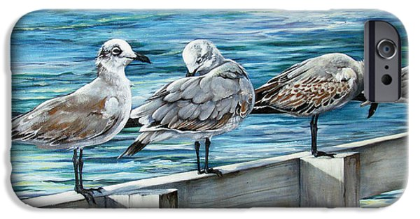 Seagull Paintings iPhone Cases - Pier Gulls iPhone Case by Joan Garcia