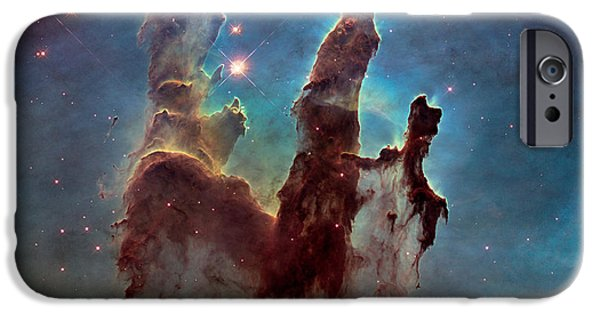 Outer Space Paintings iPhone Cases - Pillars of Creation iPhone Case by Nasa