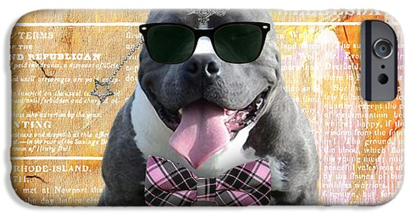 Dogs iPhone Cases - Pitbull Bowtie Collection iPhone Case by Marvin Blaine