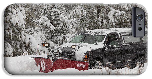 Winter Storm iPhone Cases - Plowing Through Winter Snowstorm iPhone Case by Linda Freshwaters Arndt