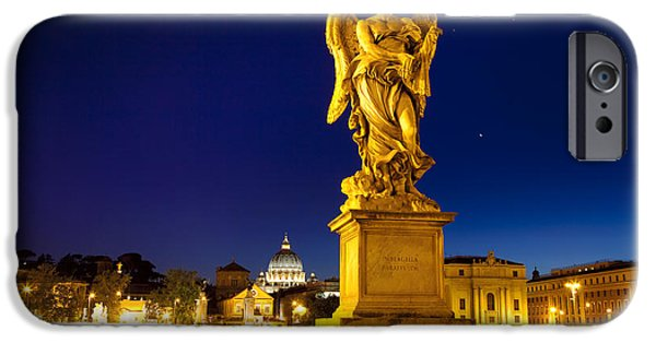 Night Angel iPhone Cases - Ponte Sant Angelo iPhone Case by Brian Jannsen