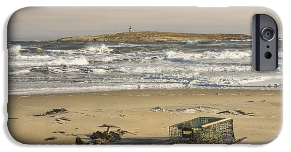 New England Lighthouse iPhone Cases - Popham Beach on the Maine Coast iPhone Case by Keith Webber Jr